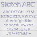 Vector sketched alphabet abstract illustration of a in blue ink Royalty Free Stock Images