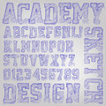 Vector sketched font abstract illustration of a alphabet Royalty Free Stock Photos