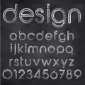 Vector sketched font abstract illustration of chalk on blackboard Royalty Free Stock Photos