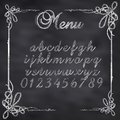 Vector sketched menu board abstract illustration of a chalk text on blackboard Stock Photography