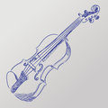 Vector sketched violin abstract illustration of a Royalty Free Stock Photo
