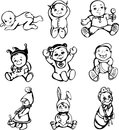 Vector sketches of babies set of black and white illustrations Royalty Free Stock Images