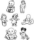 Vector sketches of babies set of black and white illustrations Stock Photo