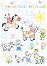 Vector sketches happy children s and farm animals sketch on notebook page Royalty Free Stock Images