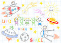Vector sketches with happy childrens and aliens sketch on notebook page Royalty Free Stock Images