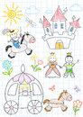 Vector sketches with happy princes and princesses sketch on notebook page Stock Image