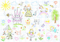 Vector sketches with princesses and fairy happy little sketch on notebook page Royalty Free Stock Images