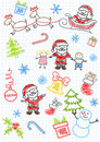 Vector sketchs - Santa Claus and children Royalty Free Stock Photo