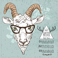 Vector sketchy illustration. Hand Drawn Portrait of hipster goat Royalty Free Stock Photo