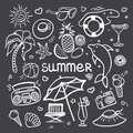 Vector sketchy line art Doodle cartoon set of objects and symbols for summer holidays on blackboard