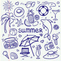 Vector sketchy line art Doodle cartoon set of objects and symbols for summer holidays Royalty Free Stock Photo
