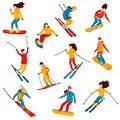 Vector skiers and snowboarders cartoon flat style. Men and women in the ski resort. Winter sport activity. Simple
