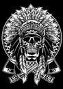 Skull of native american warrior with tomahawk Royalty Free Stock Photo