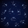 Vector sky star map with constellations stars Royalty Free Stock Photo
