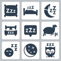 Vector sleep concept icons set pillow bed moon sheep owl zzz Royalty Free Stock Photography