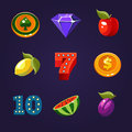 Vector Slot Machine Symbols Set Royalty Free Stock Photo