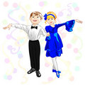 Vector Small elegant dancers Royalty Free Stock Images
