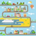Vector Small Town Cityscape Illustration Royalty Free Stock Photo