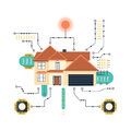 Vector smart home concept. Microchip pathways futuristic background. Royalty Free Stock Photo