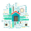 Vector smart home concept. Smart home in microchip pathways futuristic background. Internet of things technology. Royalty Free Stock Photo