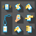 Vector smart phone icons on Gray