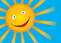 Vector smile sun on blue sky Stock Photo