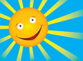 Vector smile sun on blue sky Royalty Free Stock Photos