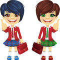 Vector smiling brunette cute schoolgirls Royalty Free Stock Images