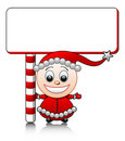 Vector smiling Santa helper boy with blank Royalty Free Stock Images