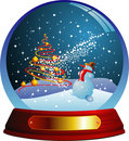 Vector snow globe with a christmas tree and snowma Royalty Free Stock Photo