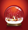 Vector snow globe red Stock Photography