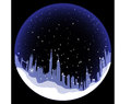 Vector snowball with london silhouette skyline Royalty Free Stock Image