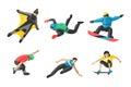 Vector snowboard jumping extreme athletes silhouettes illustration life skateboard set speed skydiver skateboarder skate Royalty Free Stock Photo