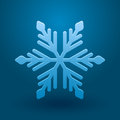 Vector snowflake illustration with and shadow on blue background Stock Images