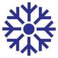 Vector illustration of a snowflake. Logo of temperature. Weather forecast icon. Cold, snowy weather
