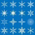 Vector snowflakes set, snowflakes collection, geometric snowflakes, winter theme.