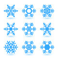 Vector snowflakes illustration with and shadow on white background Royalty Free Stock Image