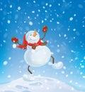 Vector snowman dancing on snowfall background.