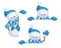 Vector snowmen cartoons. Royalty Free Stock Photo