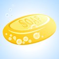 Vector soap yellow with bubbles Royalty Free Stock Images