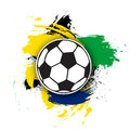 Vector soccer ball on the background of multi-colored brushstrokes. football ball for banner, poster or flyer Royalty Free Stock Photo