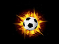 Vector soccer ball in fire flame illustration of burning on black dark background Stock Photography