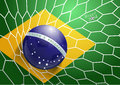 Vector soccer ball in net with brazil flag illustration modern template design Royalty Free Stock Photo
