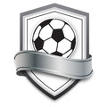 Vector soccer ball on the silver background. football emblem for soccer games online, banners, poster Royalty Free Stock Photo