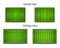 Vector soccer and football fields set Royalty Free Stock Photo