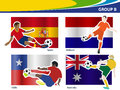 Vector soccer players with brazil group b illustration Royalty Free Stock Images