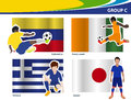 Vector soccer players with brazil group c football illustration Stock Photo