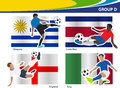 Vector soccer players with brazil group d illustration Stock Image