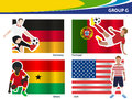Vector soccer players with brazil group g illustration Royalty Free Stock Photo