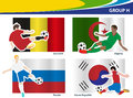 Vector soccer players with brazil group h illustration Royalty Free Stock Images